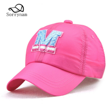 Top Brand New Summer Baseball Caps Letter M Colorful Outdoor Quick Drying Sun Visor Hats Boys Girls Birthday Gift(China)