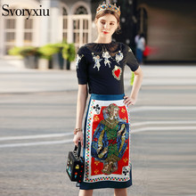 Buy SVORYXIU 2018 Runway Designer Summer Skirt Suit Women's Embroidery Black Tops Tees + Printed Jacquard Half Skirt Clothes Set for $43.19 in AliExpress store