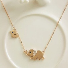 Gold Color Mother Elephant with Cute Little Baby Elephant Necklace Womens Jewelry with Austrian Crystals Everyday Necklace