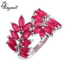 lingmei Wholesale Alluring Red Fashion Silver Ring Size 7 8 9 10 Lover Fangle Wedding Red Jewelry Women Love Gift Free Shipping(China)