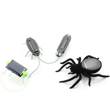 Mini Novelty Solar Panel Energy Powered Cockroach Robot Insect Bug Gadget kids Fun kit Science toys movement gift for children(China)