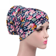 Women Stretchy Flowers Print Hat Turban Cotton Cancer Chemo Cap Women's Hijab Style Hair Wraps Accessory