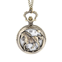 Vintage Bronze Copper Horse Hollow /Carved Quartz Pocket Watch Clock Fob With Chain Pendant Necklace Womens Men Gifts LXH(China)