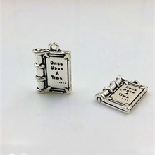 High Quality 5 pcs/lot 25mm Antique Silver Plated Lettering Diary Storybook Charms Book Pendants For Necklace Bracelet Making(China)