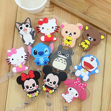 10Pcs /1Pc Cute Cartoon Minni Retractable Pull Key ID Card Clip ID BUS Card lanyards id Badge Holder With Metal Clip Easy to Use