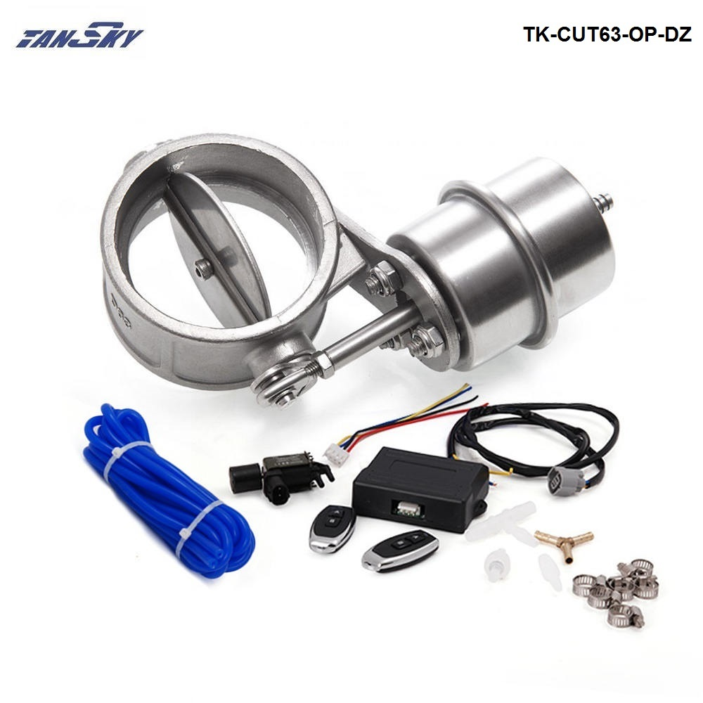 """Exhaust Control Valve Set With Vacuum Actuator CUTOUT 2.5"""" 63mm Pipe OPEN STYLE with Wireless Remote Controller TK-CUT63-OP-DZ"""