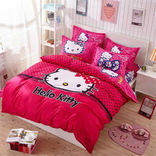 4pcs Hello Kitty Cartoon Bedding Set Kids with Duvet Cover Bed Sheet set of Bed Linen Bedsheet Bedspread Sheets Queen Twin Size(China)