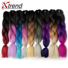 Xtrend Purple Ombre Kanekalon Braiding Hair Expressions 24'' 100g Synthetic Jumbo Braids Crochet Hair Fiber 10PCS Heat Resistant(China)