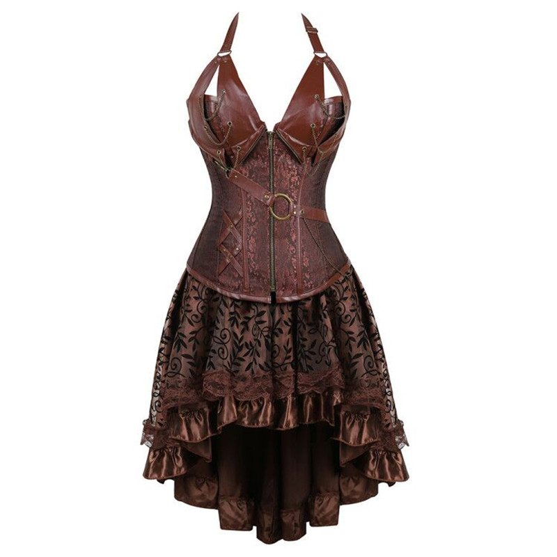 women plus size steampunk corsets dress victorian gothic front zip corset bustier faux leather skirts set brown black halloween