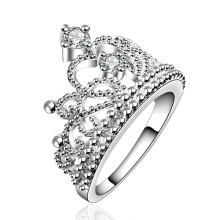 Christmas Gift Beauty Princess Ring Jewelry Aliancas Casamento Austrian Crystal Crown Rings For Women Silver Color Accessories