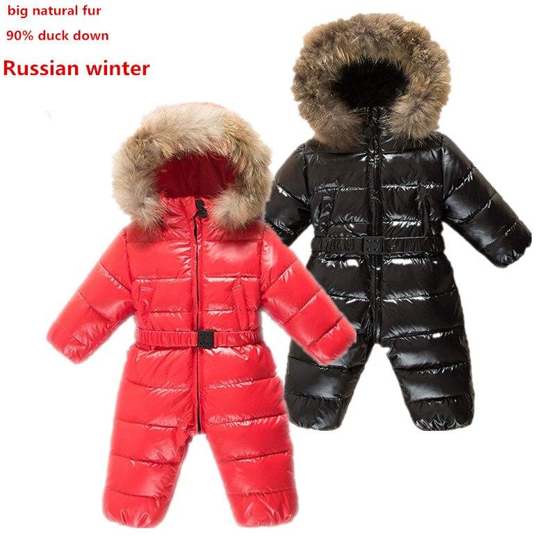 0109ccdf9 Infant Snow Wear Newborn Baby Boy Snowsuits Girls Winter Romper ...