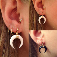 Antique Silver Gold Color Ox Horn Stud Earring Ethnic Tribal Festival Jewellery Gift Girls E064