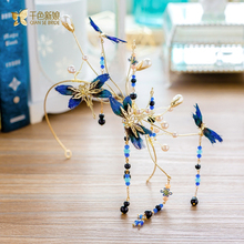 Gorgeous blue feather butterfly hairband pearl jewelry women forehead headpiece bridal jewelry wedding hair accessory feiyao