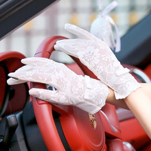 2017  Women Sun Protection Summer Gloves Lace Glove Thin Sunscreen Gloves Lace Bow Mittens Binge Gray Pink outdoor Gloves