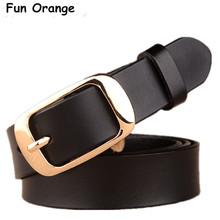 Fun Orange Women Strap Pure Color Belts Top Quality Jeans Belt Women's Strap Casual All-match Women Brief Genuine Leather Belt