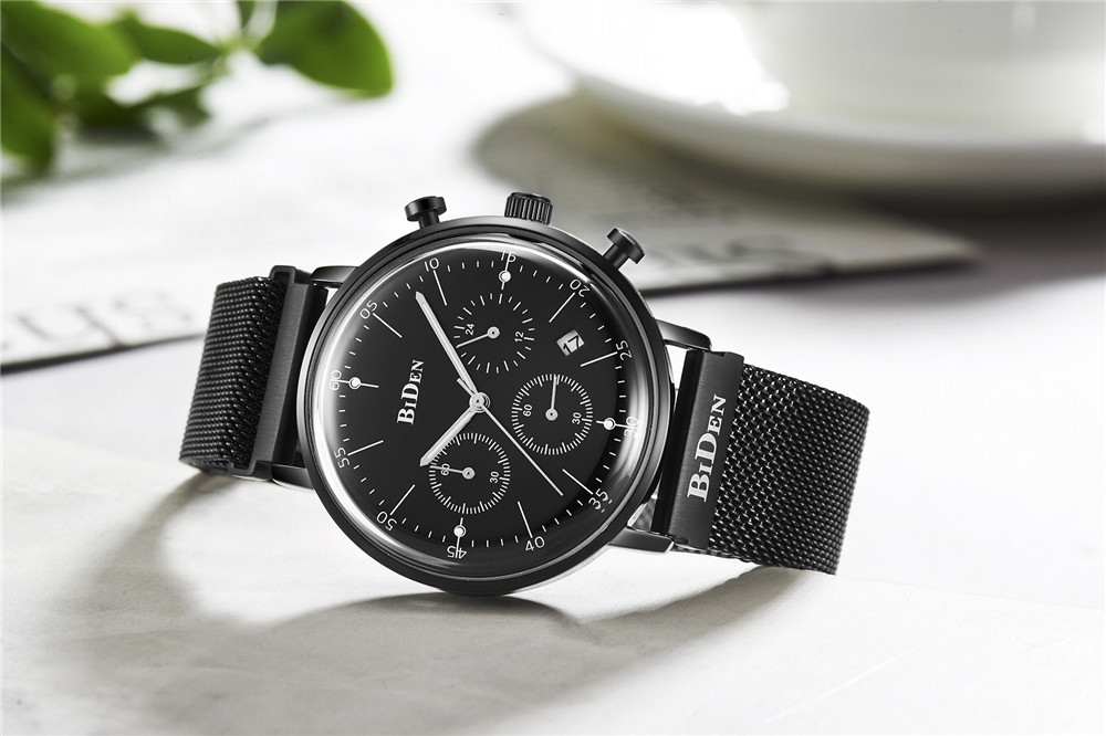 Mens Sports Watches Stainless Steel Chronograph Waterproof Silver Black Band Quartz Wrist Watches for Men Luxury Brand