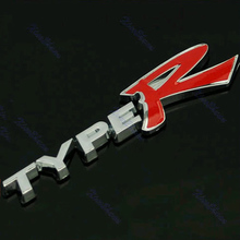 "B86"" Free Shipping 3D TYPER TYPE R Racing Emblem Badge Logo Decal Sticker"