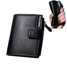 Wallet Men PU leather men wallets zipper Microfiber Fashion quality male genuine purse short purse money bag quality guarantee(China)