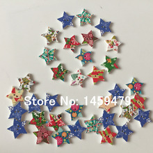 2017 New Product 80Pcs 22mm Random Mixed Colors Hand Made 2 Holes Sewing Christmas Star Wood Buttons Garments Ornament(China)
