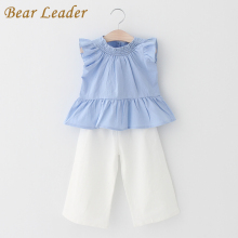 Bear Leader Girls Sets 2017 New Children Clothing Sleeveless Shirt +White Pants 2Pcs for Baby Girls Clothes Fashion Girls Suits