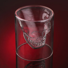 2017 New Arrival Creative Designer Skull Head Shot Glass Fun Doomed Transparent Party Doom Drinkware Gift for Halloween 4 sizes