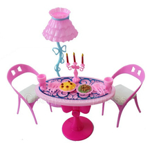 BESTIM INCUK 1 Set Vintage Table Chairs For Barbie Dolls Furniture Dining Sets Toys For Girl Kid Child For Pink