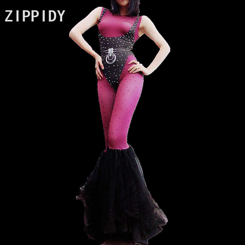 Black Purple Rhinestones Spandex Jumpsuit big Leggings Bar Birthday Party Dancer  Show Bodysuit Nightclub Women Singer d9536337fbc8