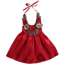 Cute Flowers Baby Girls Dress Party Lace Up Summer Outfits Clothes Fashion Cool Gown Princess Toddler Girl Dress(China)