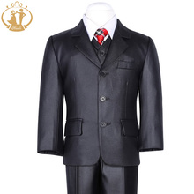 Nimble suit for boy Black Classical Kids Coat Solid Single Breasted Children Forma Blazers For Wedding jogging garcon(China)