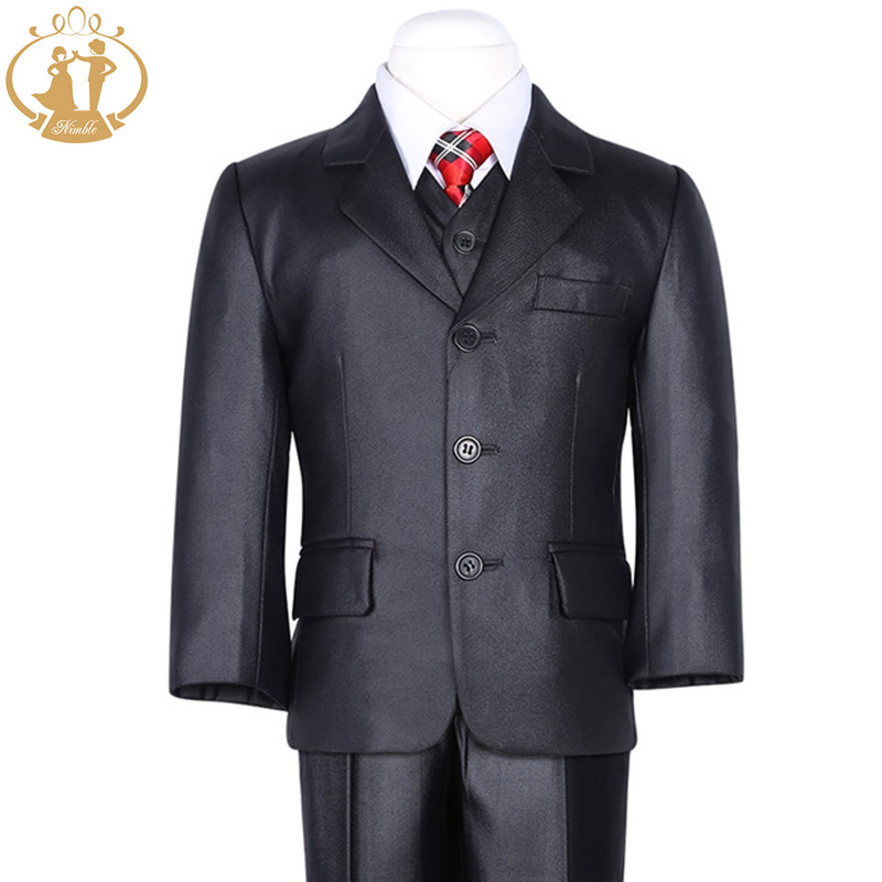 Nimble Boys Formal Suit Three Pieces Black Classical KidsCoat Solid Single Breasted Children Forma Blazers For Wedding<br><br>Aliexpress
