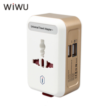 WIWU Universal Travel Adapter Dual USB Wall AC Charging Sockets Converter US UK AUS EU Plug Quick Charge QC 3.0 Charger Adapter(China)