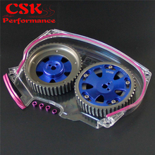 Clear Timing Belt Cover + Cam Pulley For Lancer Evolution 4G63 EVO 4 5 6 7 8 Blue,Gray,Silver(China)