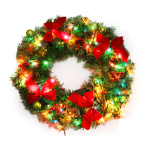 50cm Christmas Decoration Wreath With Colorful Lamp and Bow Christmas Decorations For Home Super Market Best Festival Ornament