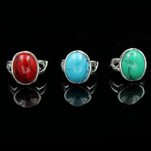 Wholesale Lots 5pcs Vintage Look Retro Craft Tibet Alloy Silver Plated Assorted Design Mixed Color Stone Rings Fine Jewelry