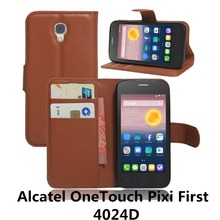 Luxury Phone Carcasa Case For Alcatel One Touch PIXI First 1st 4024D 4.0'' Alkatel Flip Cover PU Leather Wallet Bag With Stand(China)