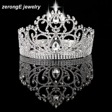 "zerongE jewelry Vintage Style Pageant Beauty Contest Tall 4.5"" heart Tiara Full Circle Round Crystal Crown metal crown"