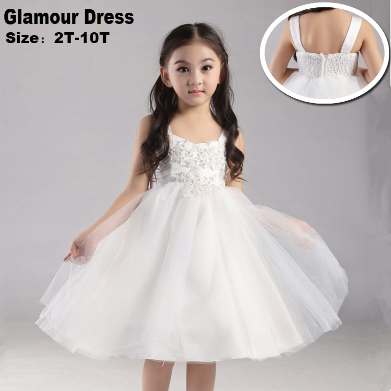 Free Shipping  2-10 Years Kids Party Dress 2018 New Design Ball Gowns Bead Lace Appliques Ivory Flower Girl Dresses For Weddings<br>