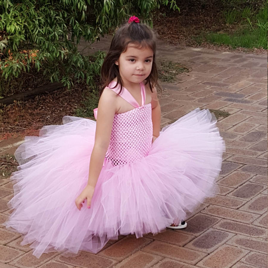 Gorgeous Light Pink Girls Tutu Dress for Photo Shoot Birthday Party Wedding Kids Dress up Costume Pink Fancy Ball Gown (2)