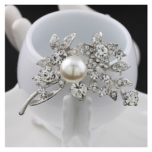 Tree branch and five star simulated pearl brooches for women Rhinestone brooch  B1013