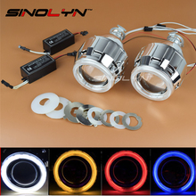 SINOLYN Car Motorcycle Styling CCFL Angel Eyes Halo 2.5'' HID Bi-xenon Lens Projector Headlights Xenon Headlamps Lenses H1 H4 H7(China)