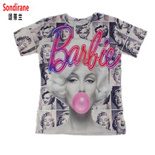 Sondirane New 3D T Shirt Barbie Marilyn Monroe Blowing Bubbles Classic Images Print Tee Shirt Women/Men Graphic Tees Summer Tops