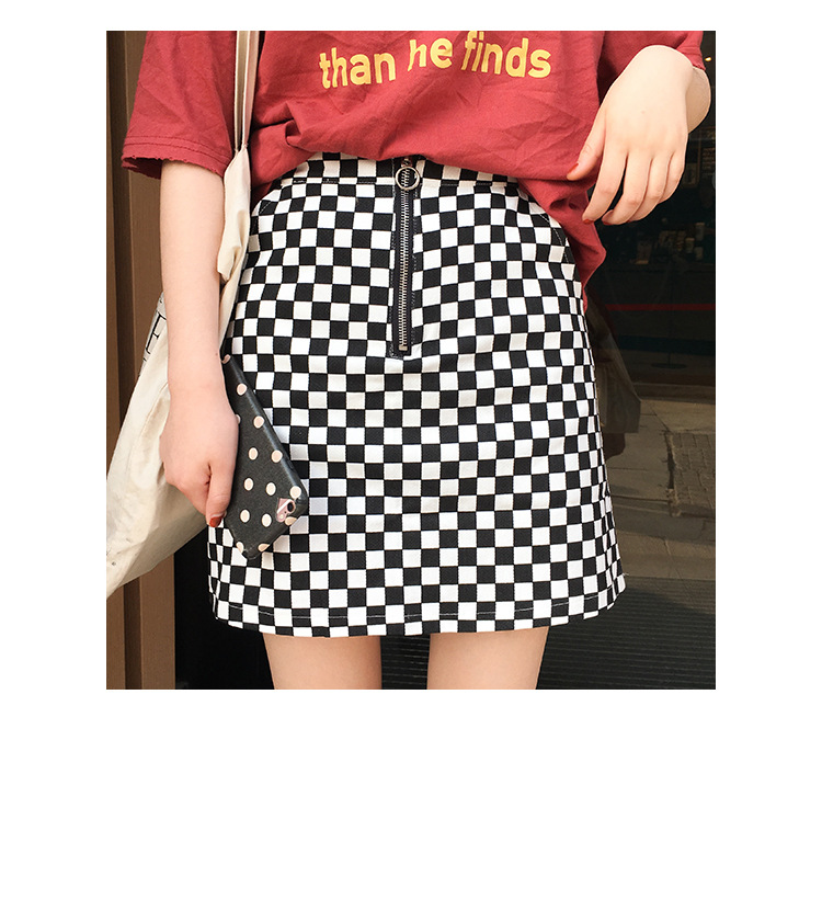 2017 Summer Korean Style Black White Plaid High Waist Slim A-line Female Skirts 8