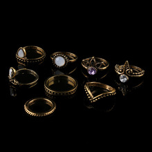 8 Pcs  Antique Rings Vintage Boho Fashion Arrow Crystal Midi  Finger Knuckle Ring  For Women Girls Jewelry Gift