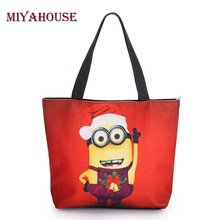 New Christmas Style Cute Minions Printed Canvas Tote Bag Fashion Female Beach Bag Single Shoulder Shopping Bags Large Capacity