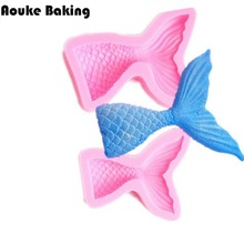 Christening Mermaid Tail Silicone Mold Fondant Cupcake Cake Decorating Baking Tools Handmade Soap Mold Fish Fork tail