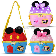 Cute Kawaii Mickey Pink Purple Minnie Plush House Messenger Bag Kids Tote Shoulder Bags For Children Boys Girls