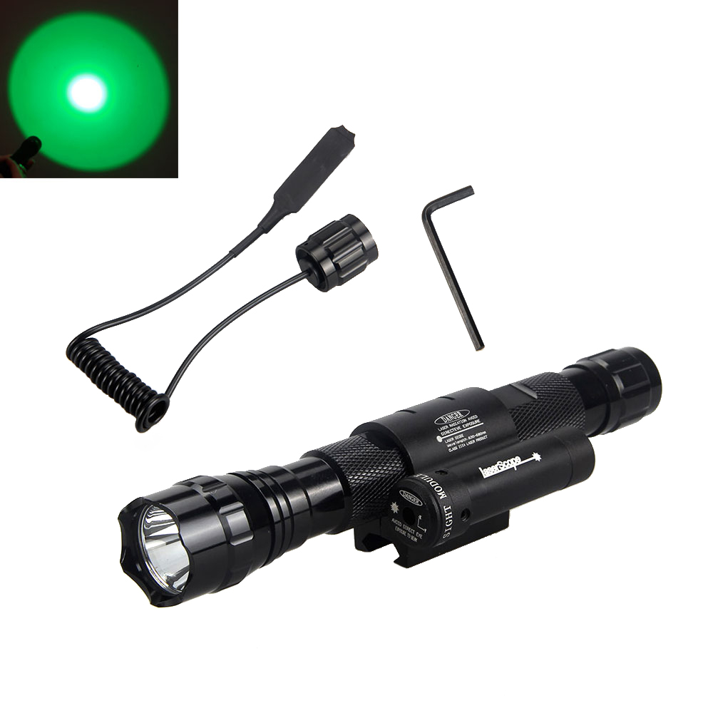 Hot Sale Factory Price 2500LM T6 LED 18650 Flashlight Torch/Hunting Tactical Red Laser DOT Sight<br>