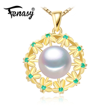 FENASY fine jewelry pearl classic Geometric necklaces Pearl Pendant 925 Silver jewelry Pearl Choker Flower emerald Necklace(China)