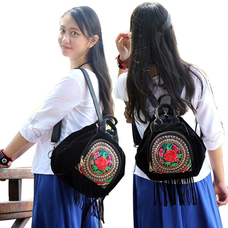 women men canvas backpack school bag vintage fashion travel  Ethnic bag black lovely women floral printing embroidered backpack<br><br>Aliexpress