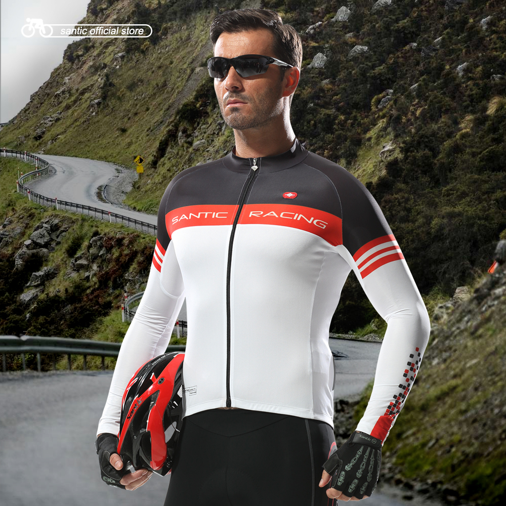 Santic Men Cycling Long Sleeve Jerseys for Spring Autumn SANTIC N-FEEL Power Dry Windproof Resist UV Cycling Clothings M5C01063W<br>